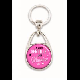 """Porte clé """"La plus gentille des mamies"""" rose"""