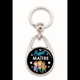 """Porte clés """"Super maître"""" noir"""