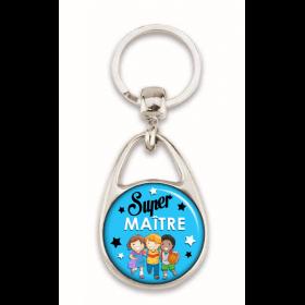 """Porte clés """"Super maître"""" bleu"""