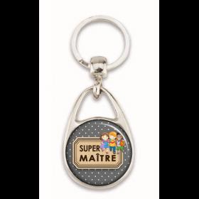 """Porte clés """"Super maître"""" gris"""