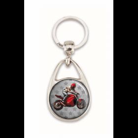 """Porte clés """"Un motard qui déchire"""" gris"""