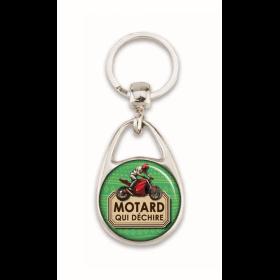 """Porte clés """"Motard qui déchire"""" vert"""