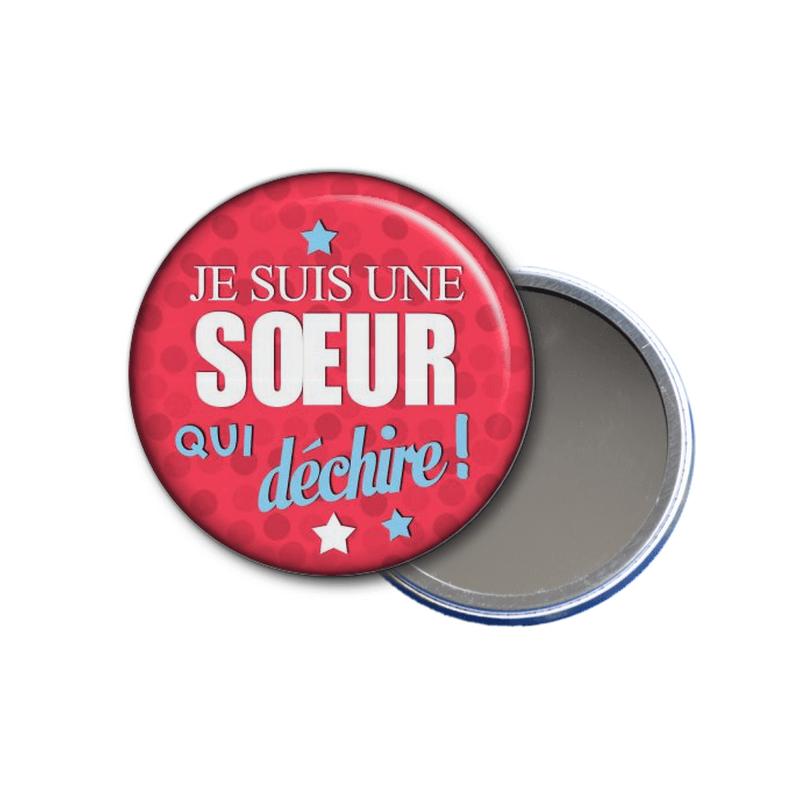 idée cadeau - miroir de poche Je suis une soeur qui déchire! - toutes les idées cadeaux sont sur em-creation.fr