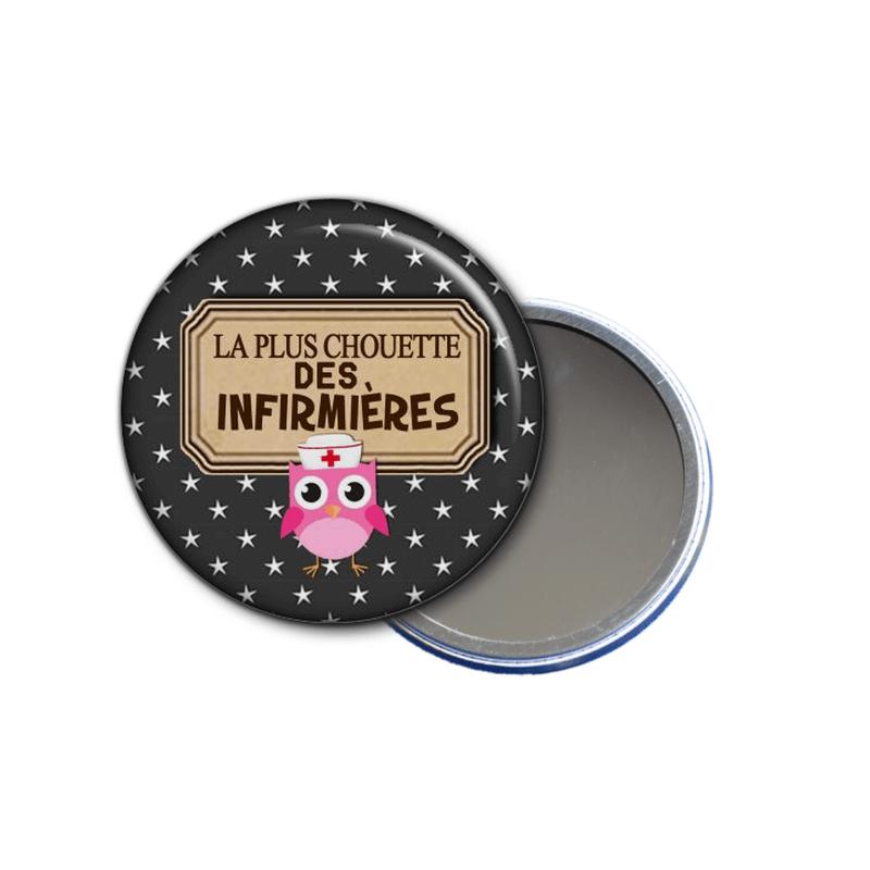 idée cadeau - miroir de poches La plus chouette des infirmières - toutes les idées cadeaux sont sur em-creation.fr