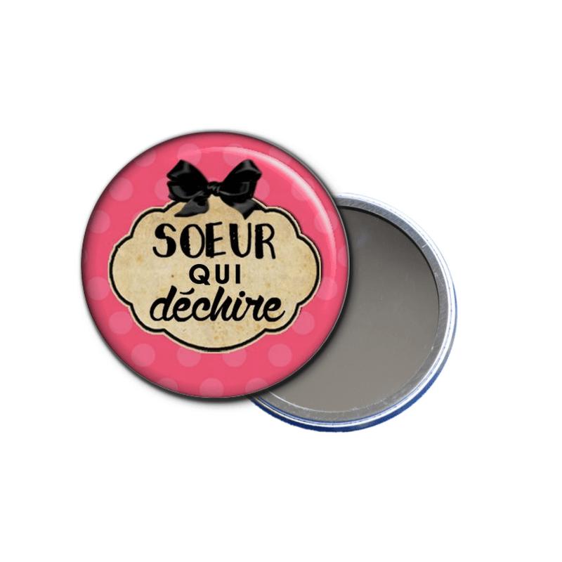 idée cadeau - miroir de poche soeur qui déchire - toutes les idées cadeaux sont sur em-creation.fr