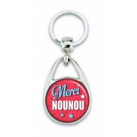 "Porte clés ""Merci nounou"" rose"