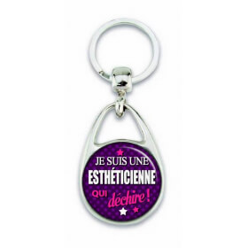 """Porte clés """"Je suis une esthéticienne qui déchire!"""" violet"""