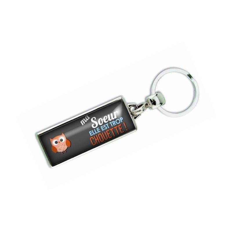 Porte clés 'Ma soeur elle est trop chouette' - Em creation