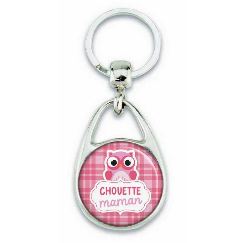 Porte clés chouette maman rose - Em création