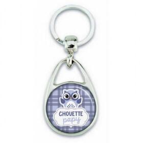Porte clés chouette papy bleu - Em création - Em création