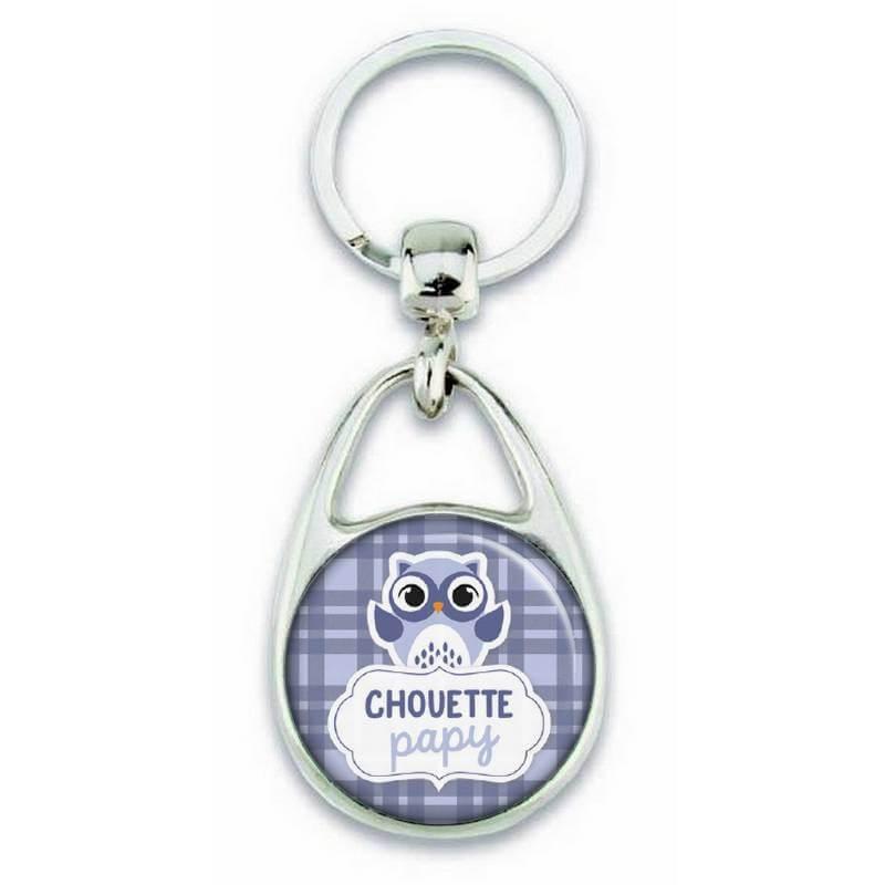 Porte clés chouette papy bleu - Em création