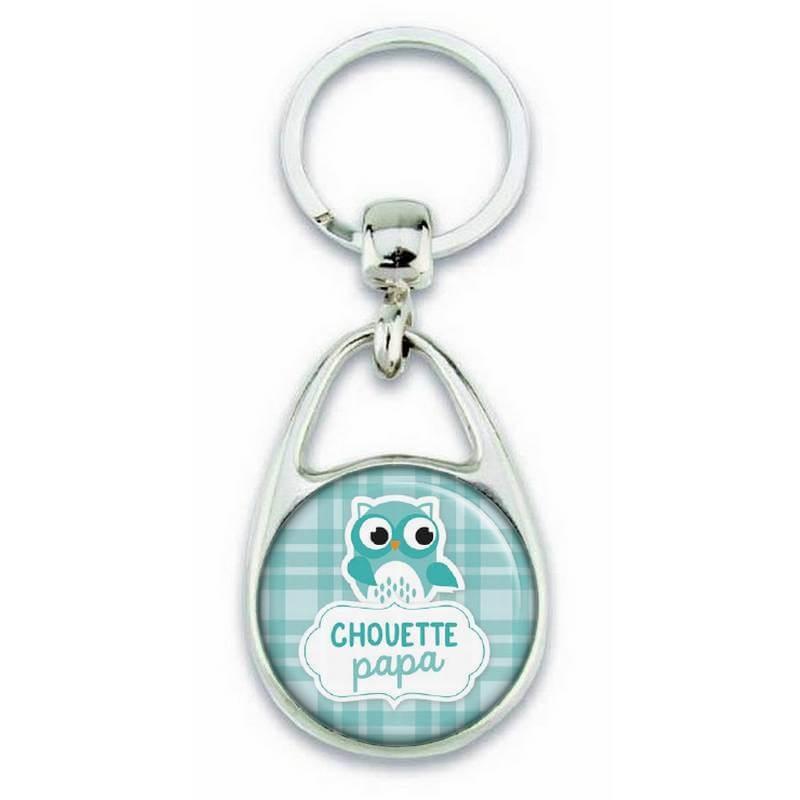 Porte clés chouette papa bleu - Em création