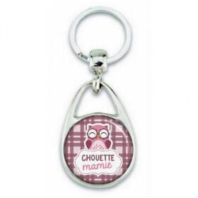 Porte clés chouette mamie violet
