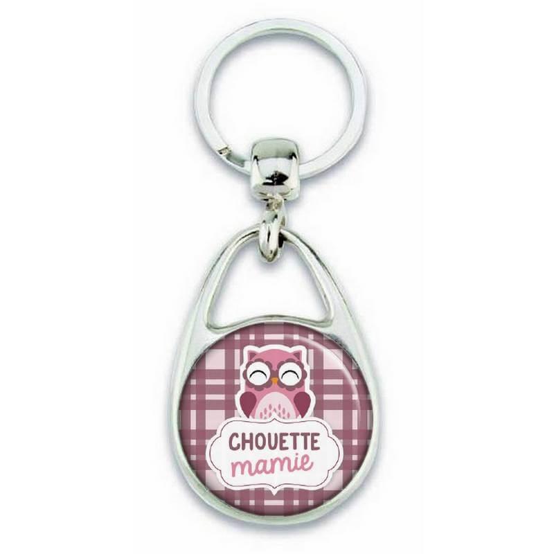 Porte clés chouette mamie violet - Em création