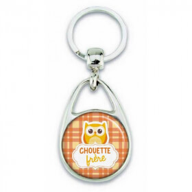 """Porte clés """"chouette frère"""" orange - Em création - Em création"""