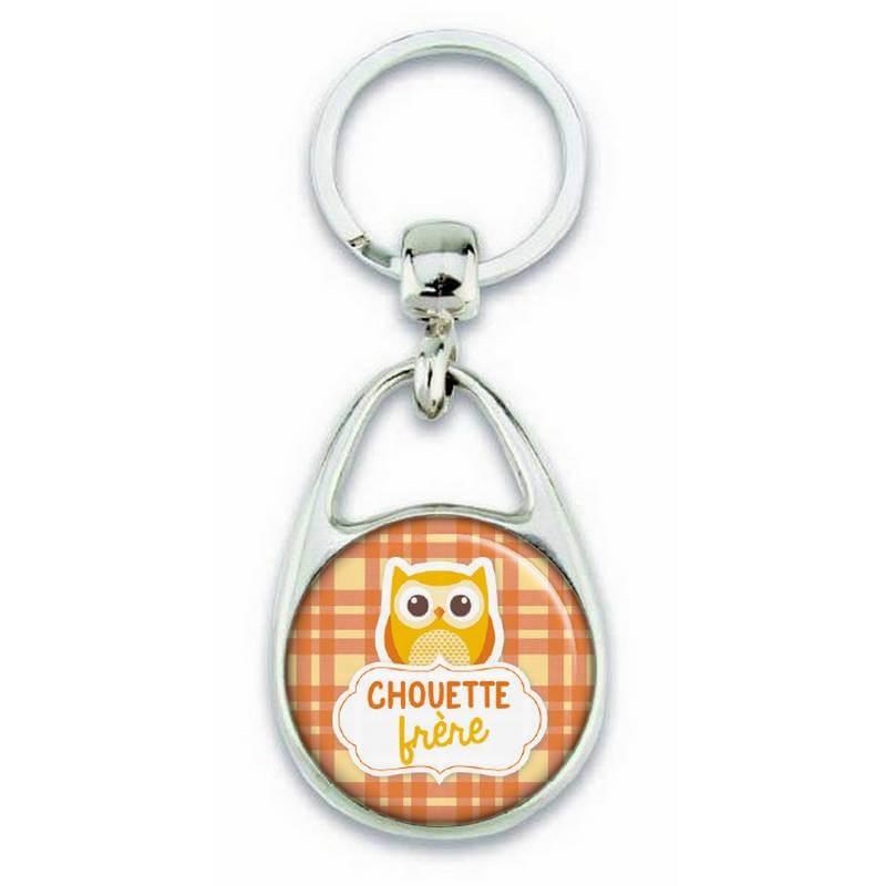 """Porte clés """"chouette frère"""" orange - Em création"""