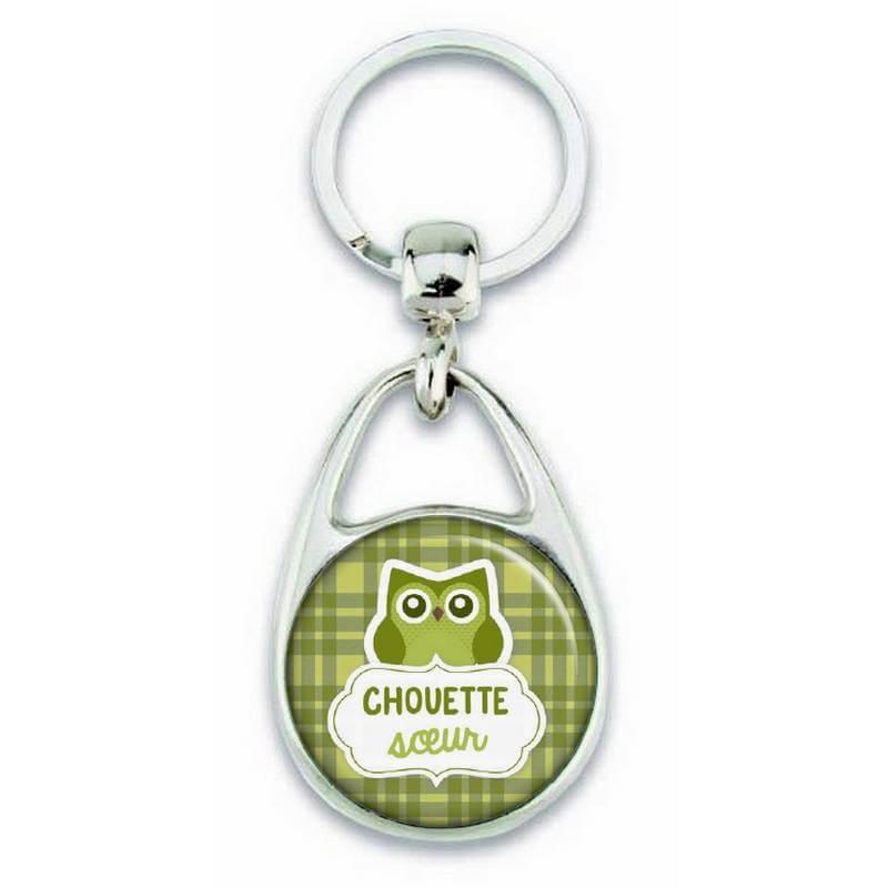 """Porte clés """"chouette soeur"""" vert - Em création"""