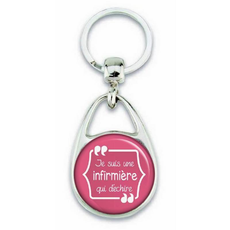 """Porte clés """"Je suis une infirmière qui déchire"""" rose - Em création"""