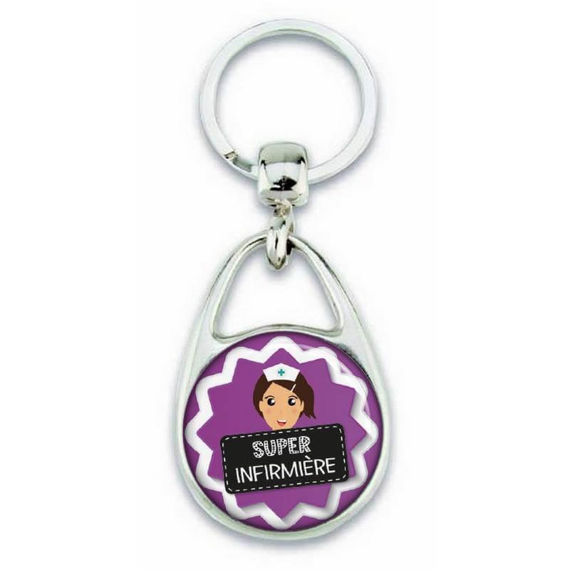 """Porte clés """"Super Infirmière"""" violet - Em création"""