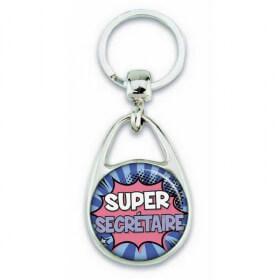 """Porte clés """"Super secrétaire"""" comics"""