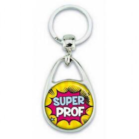 """Porte clés """"Super prof"""" comics"""