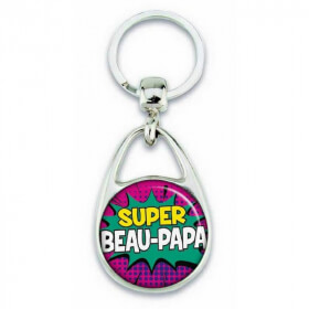 """Porte clés """"Super beau papa"""" comics - Em création - Em création"""