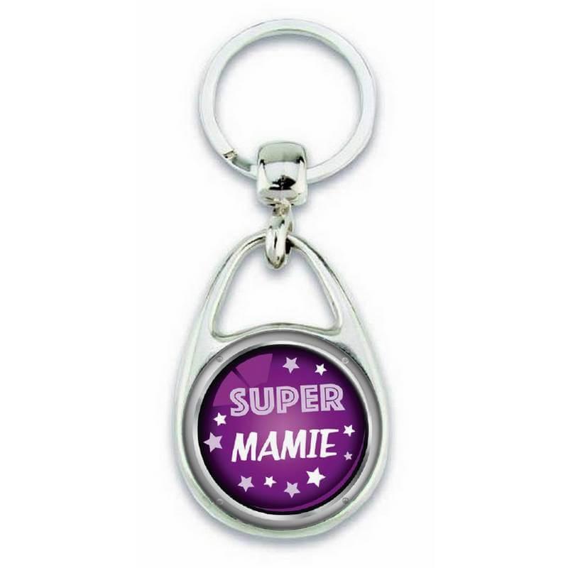 """Porte clés """"Super mamie"""" violet - Em création"""