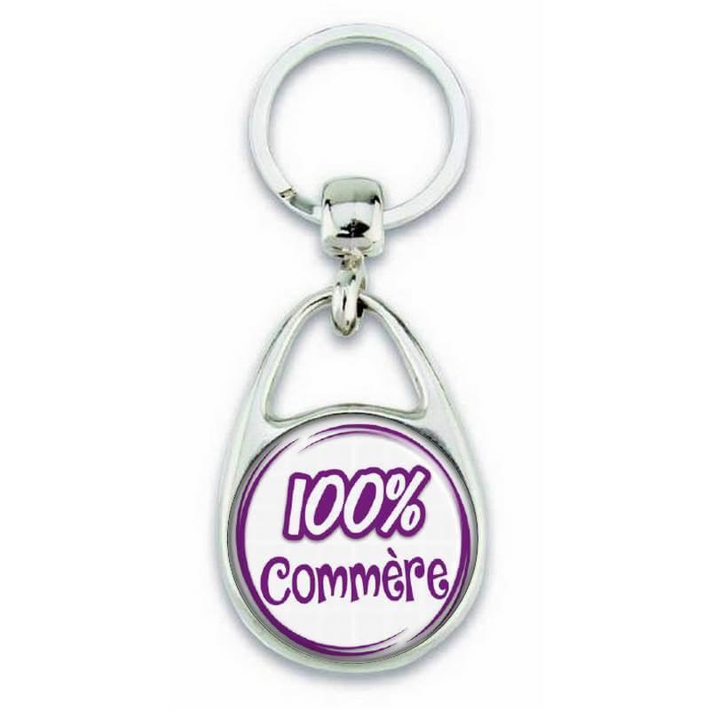"""Porte clés """"100% Commère"""" - Em création"""