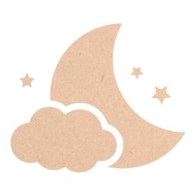 Décoration Lune, nuage et étoiles à peindre en bois à décorer - Miris - Em création