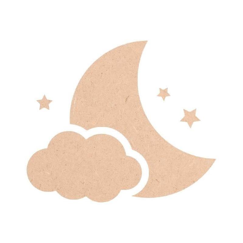 Décoration Lune, nuage et étoiles à peindre en bois à décorer - Miris