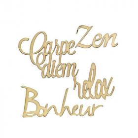 Mots 'Bonheur-Zen-Relax-Carpe diem' à décorer-artemio