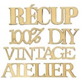Mots 'Vintage, Récup, 100% DIY, Atelier' à décorer artemio - Em création