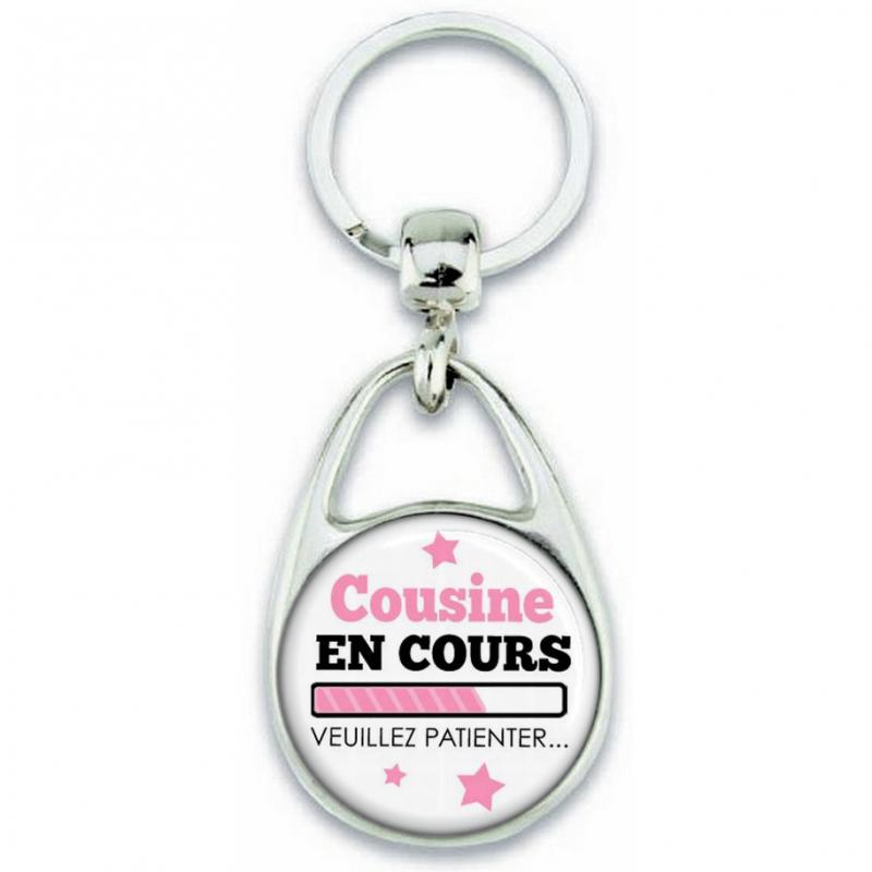 Porte-clefs 'Cousine en cours' Angora