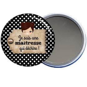 Cadeau maîtresse, un miroir de poche à offrir à la maîtresse. à découvrir sur em-creation.fr - Em création