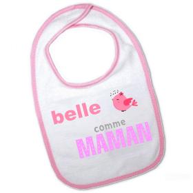 Bavoir rose original - Belle comme maman - angora - Em création