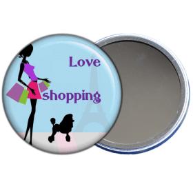 Miroir de poche j'aime le shopping en vente sur em-creation.fr - Em création