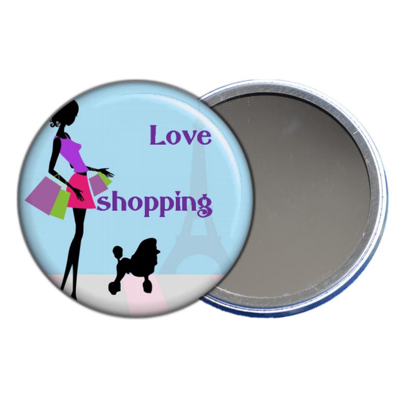 Miroir de poche j'aime le shopping en vente sur em-creation.fr