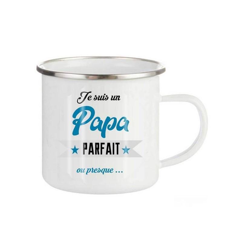 Mug emaillé Pour un papa parfait - Tasse rétro papa