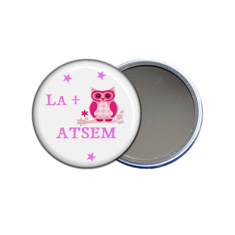 miroir de poche la plus chouette ATSEM - toutes les idées cadeaux sont sur em-creation.fr