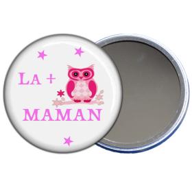 "Grand miroir de poche 9cm, ""la + chouette Maman"""