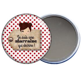 Idée cadeau pour marraine, miroir de poche pour marraine à découvrir sur em-creation.fr - Em création