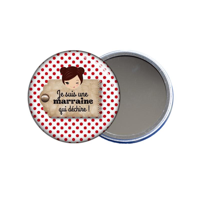 Idée cadeau pour marraine, miroir de poche pour marraine à découvrir sur em-creation.fr