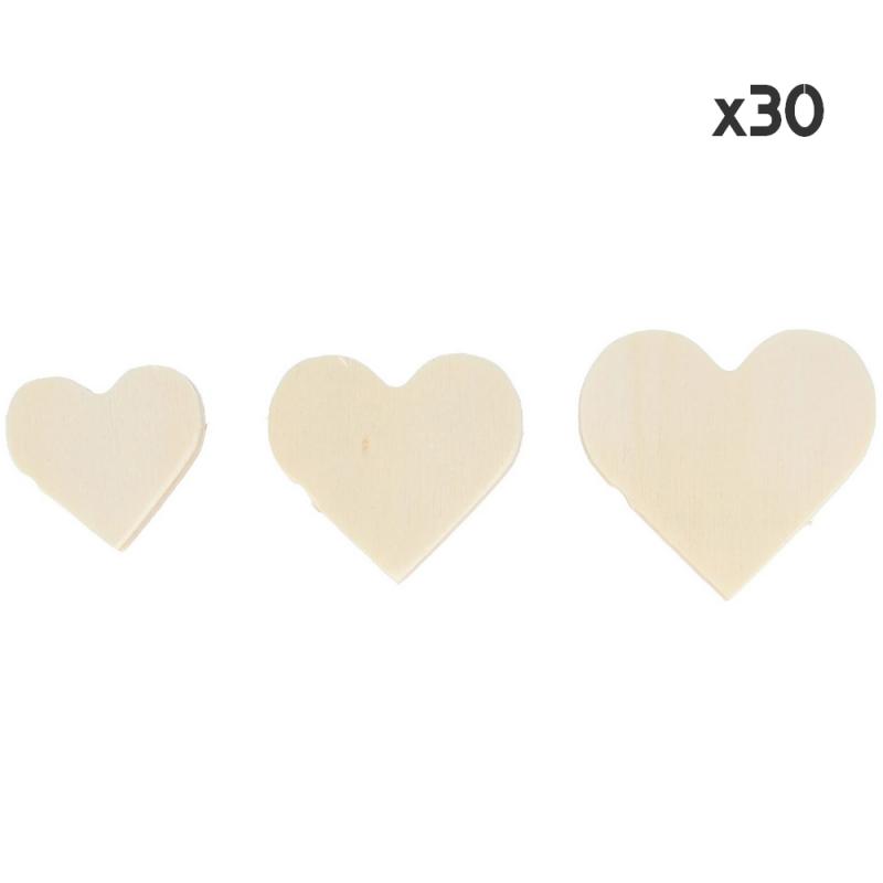 30 coeurs en bois à décorer - loisirs créatifs pas cher