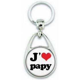 Porte clés Papy - idée cadeau papy - J'aime Papy - angora - Em création