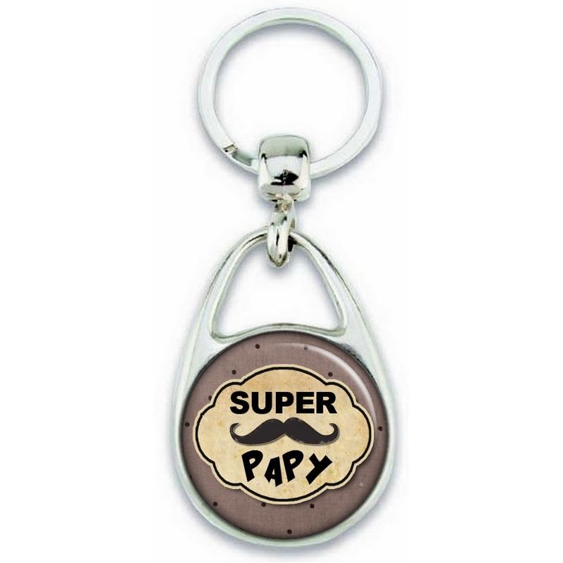 Idée cadeau pour papy - Porte clé pour papy - Porte clés Super Papy