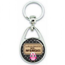 Porte clés Infirmière - Chouette infirmière - Idée cadeau infirmière - Anniversaire infirmière - angora - Em création