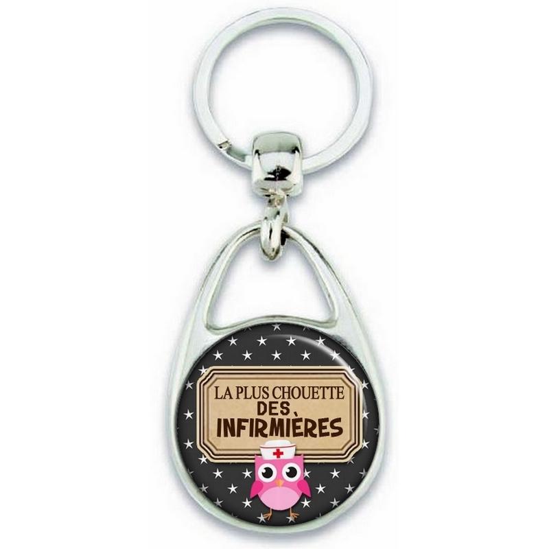 Porte clés Infirmière - Chouette infirmière - Idée cadeau infirmière - Anniversaire infirmière - angora