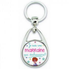 Porte clés Marraine - Idée cadeau Marraine - Baptème - Anniversaire - angora. - Em création