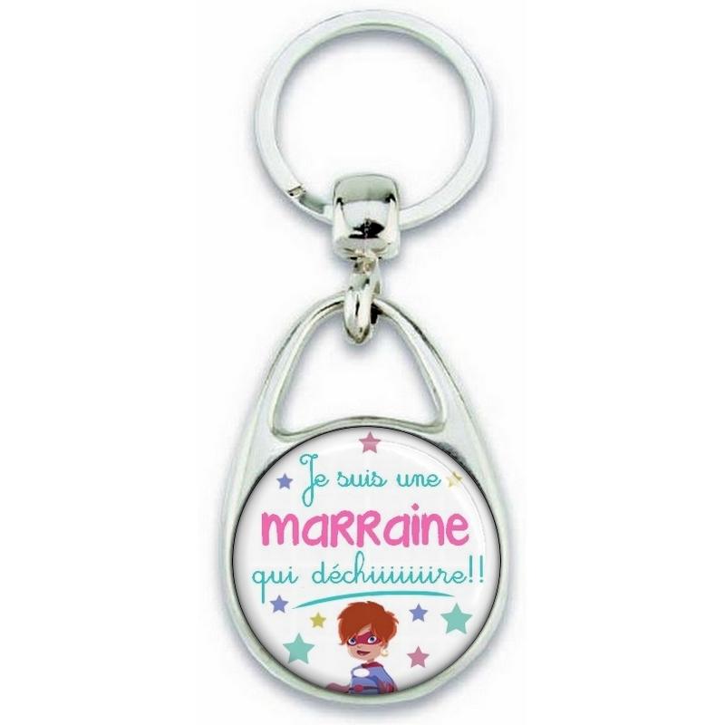 Porte clés Marraine - Idée cadeau Marraine - Baptème - Anniversaire - angora.
