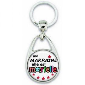 Porte clés Marraine - Idée cadeau Marraine - Baptème - Anniversaire - angora - Em création